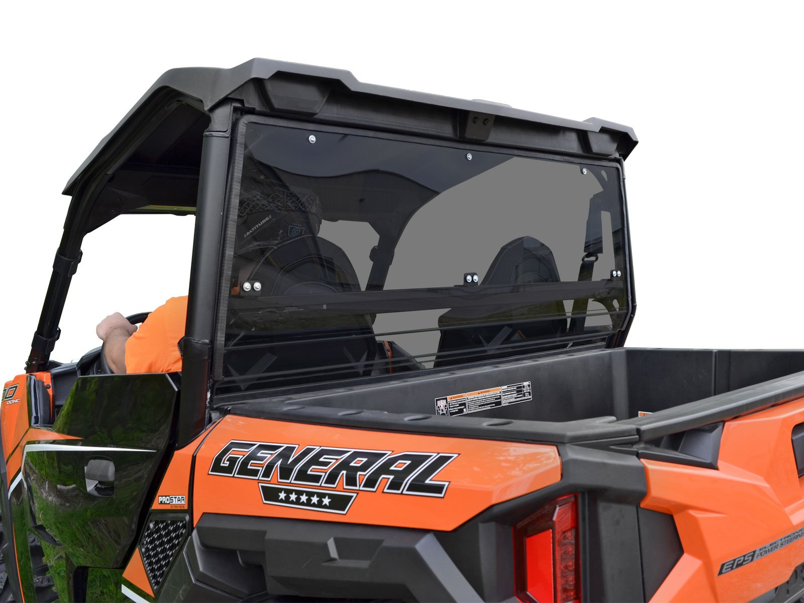 SuperATV Heavy Duty Dark Tint Non-Scratch Resistant Polycarbaonate Rear Windshield for Polaris General 1000 / General 4 Seater (2016+) by SuperATV.com