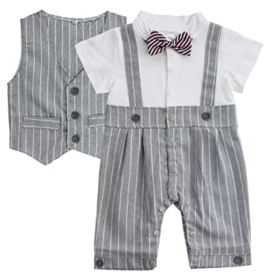e22eaa57554bd freebily Newborn Baby Boy Gentleman Suit Bow Tie Romper with Vest Formal Wear  Outfits Clothes: Amazon.co.uk: Clothing