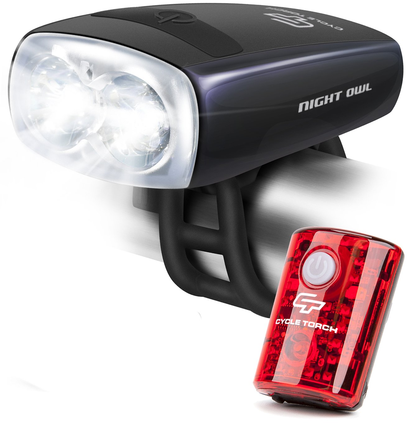 Cycle Torch Night Owl USB Rechargeable Bike Light Set, Perfect Commuter Safety Front and Back Bicycle Light LED Combo Free Bright Tail Light – Compatible with Mountain, Road, Kids City Bicycles