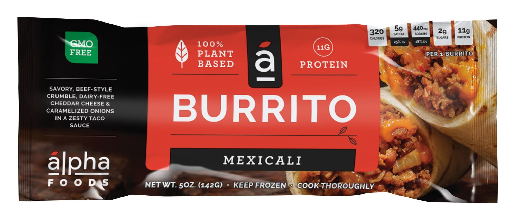 Alpha Foods Plant Based Burrito, Mexicali, 5 Ounce (Pack of 12)