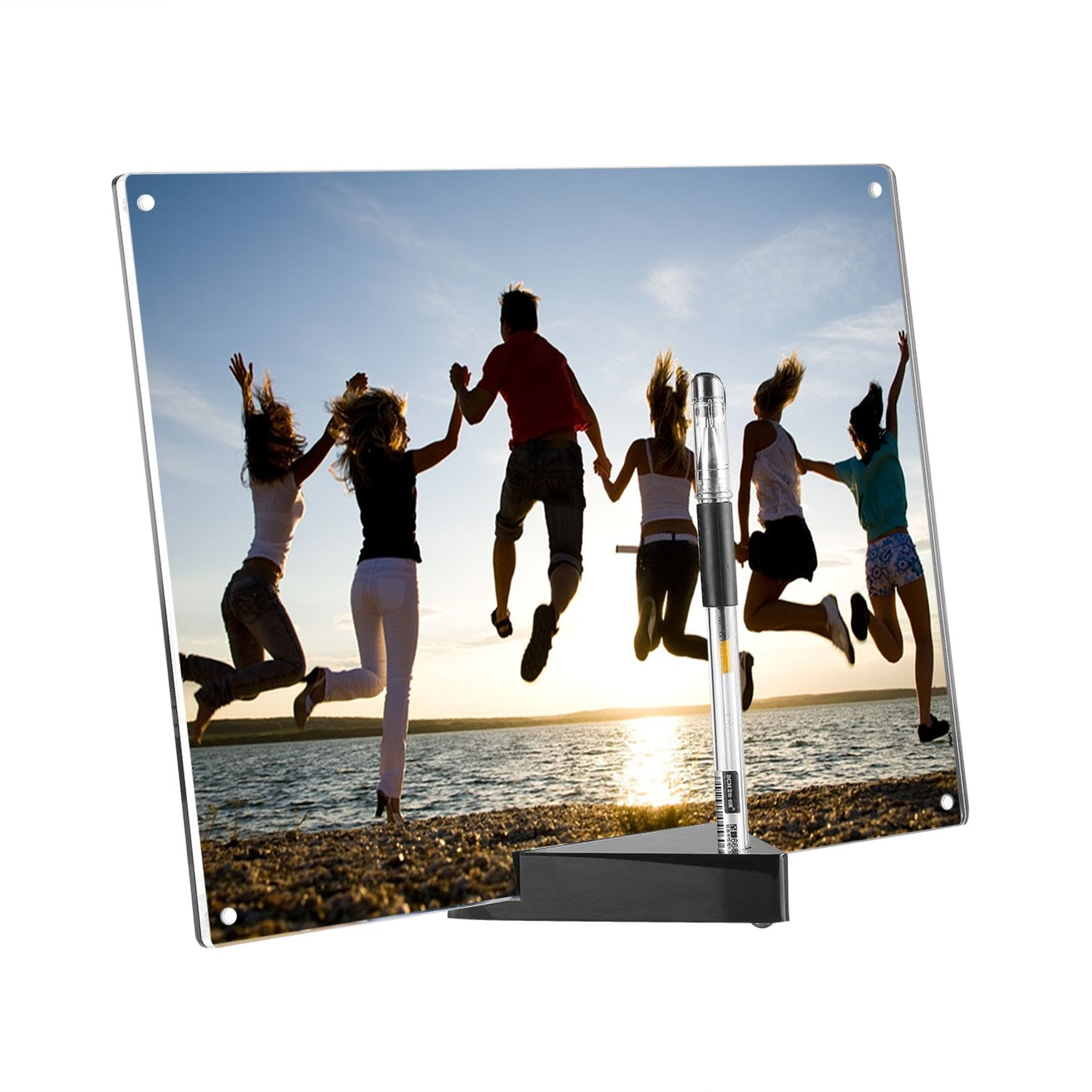 home office ki Acrylic Picture Frames, A4 Paper Size Magnetic Photo Frame with 20mm Thickness Stand Base Black and Clear H210mmxL297mm (A4 8.3x11.7 inch Triangle Base)
