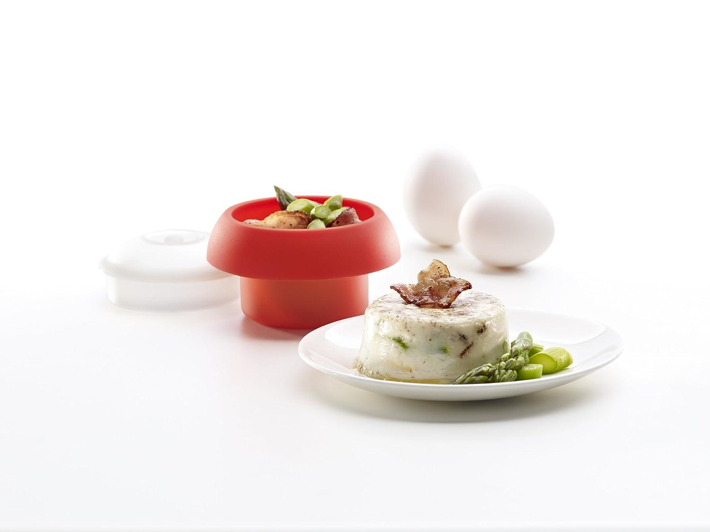 Lékué Ovo - Molde de Silicona para cocer Huevos, cilíndrico, Color Rojo