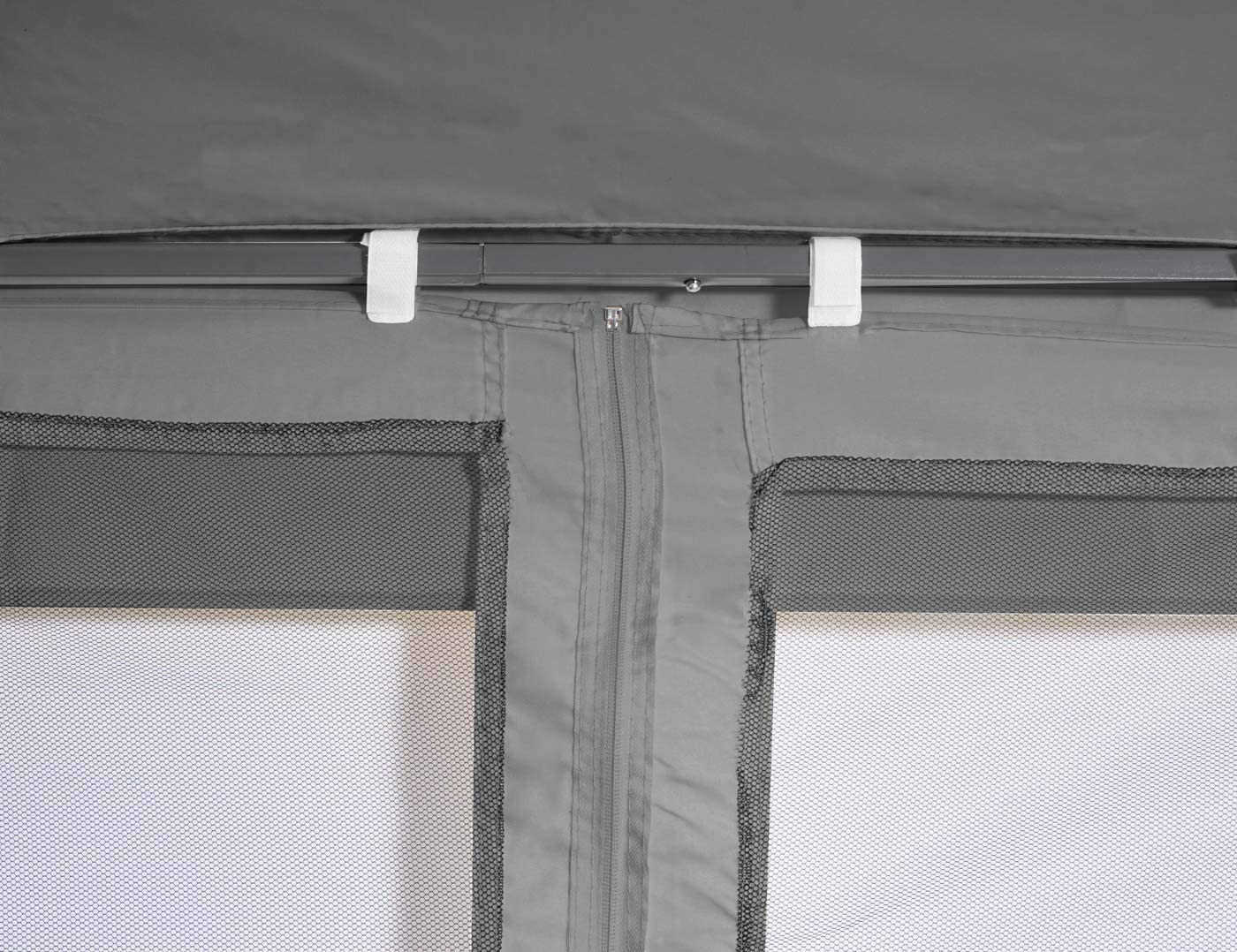 Mendler Gazebo pergola baldacchino con zanzariere HWC-E42 Acciaio 3x3,6m Grigio