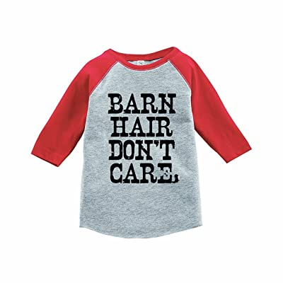 7 ate 9 Apparel Funny Kids Barn Hair Don't Care Baseball Tee Red