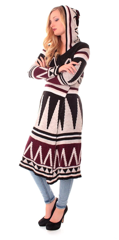 Exclusiver Ethno Damen Strickmantel Open Cardigan mit Kapuze