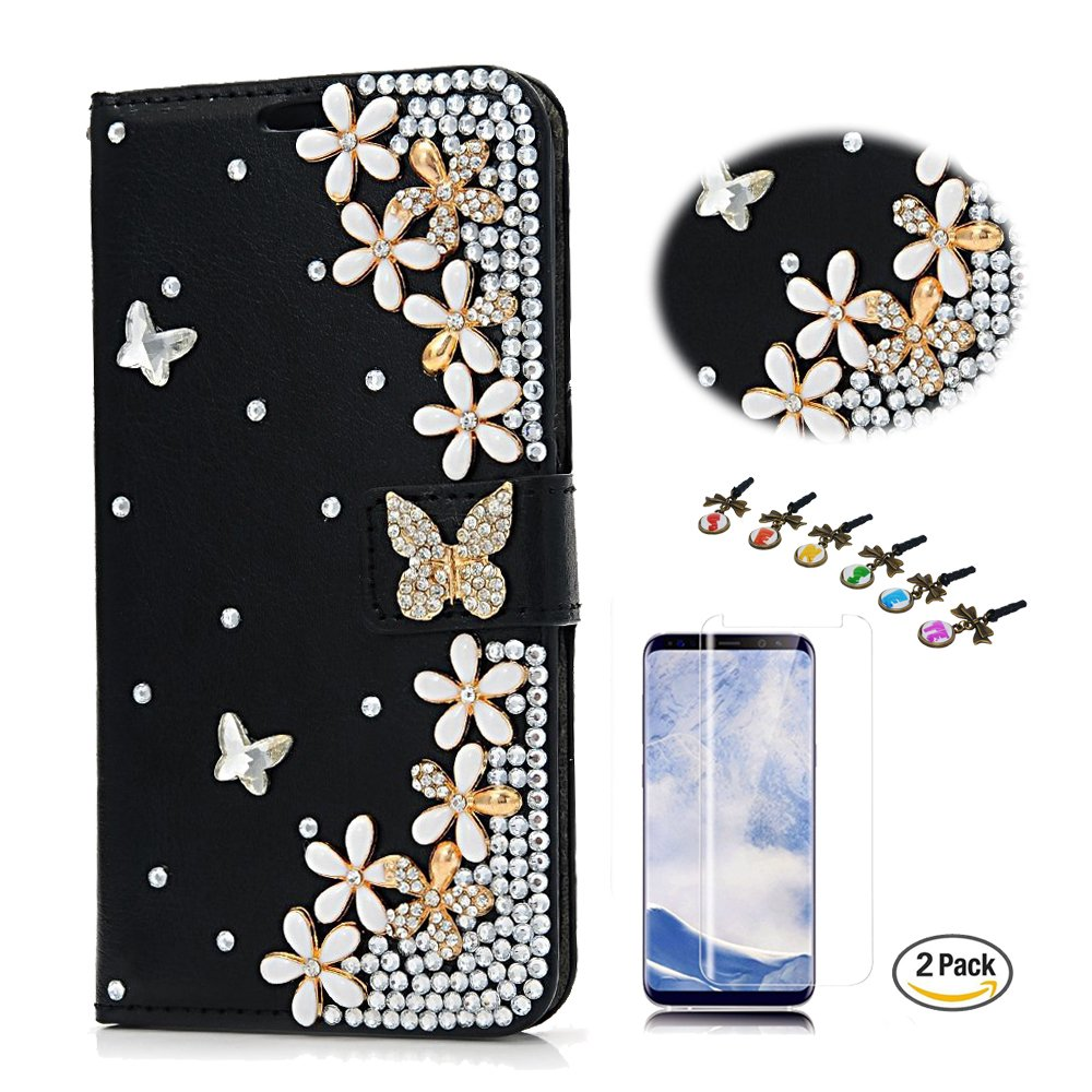 STENES iPhone 8 Plus Case, iPhone 7 Plus Case - Stylish - 3D Handmade Bling Crystal Butterfly Flowers Floral Wallet Credit Card Slots Fold Media Stand Leather Cover with Screen Protector - Black