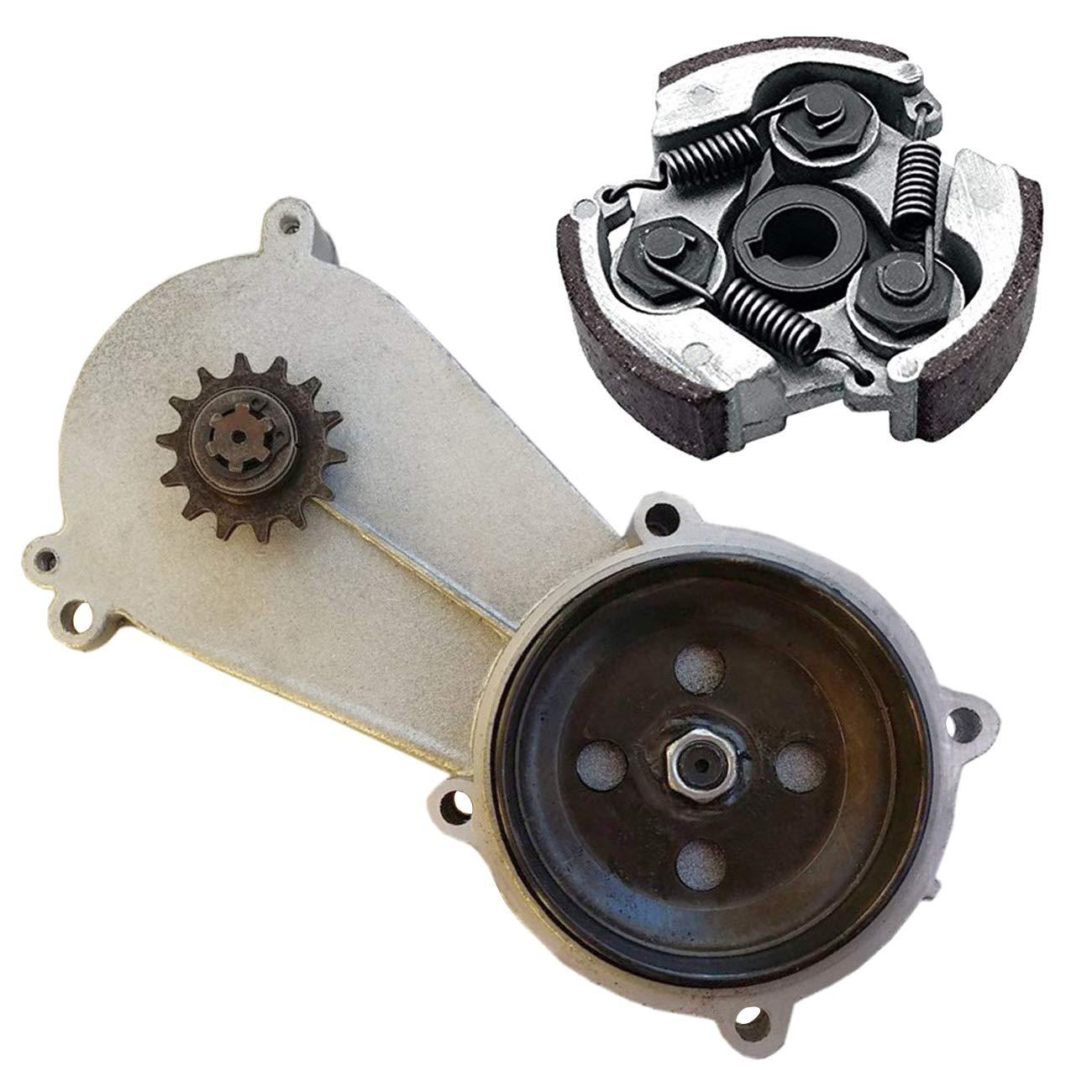 ZXTDR 14 Tooth T8F Transmission Reduction Gear Box Gearbox & Clutch Pad for 47cc 49cc 2-Stroke Pocket Mini Bike