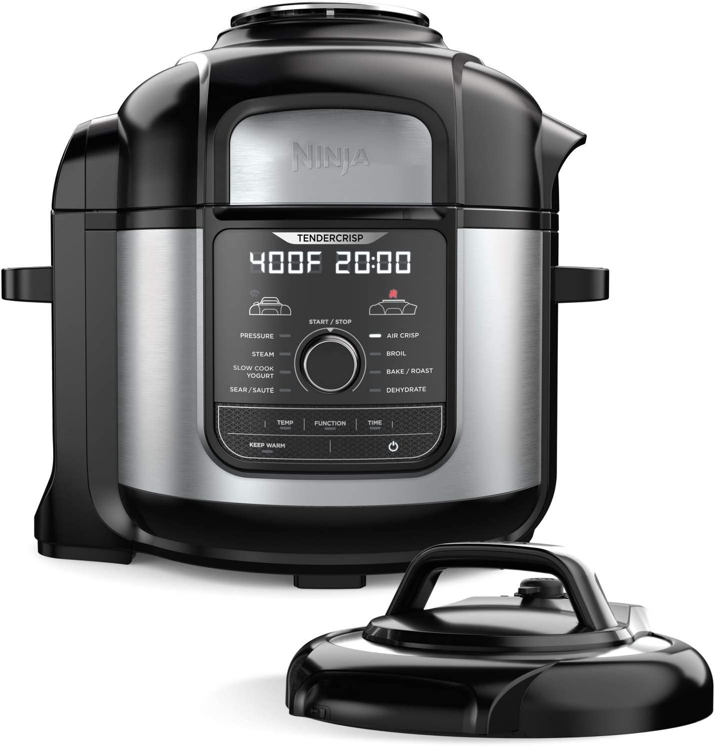 Ninja FD401 Foodi 8-qt. 9-in-1 Deluxe XL Cooker & Air Fryer-Stainless Steel Pressure Cooker, 8-Quart, (Renewed)