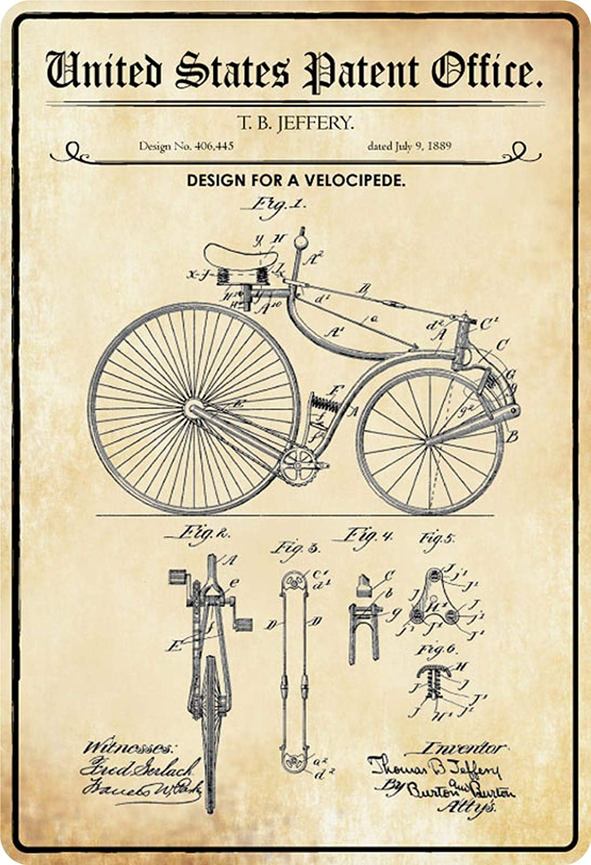 BlechschilderWelt Cartel de Chapa Patente, diseño para Bicicleta Velocipede, Placa Decorativa de Metal: Amazon.es: Hogar