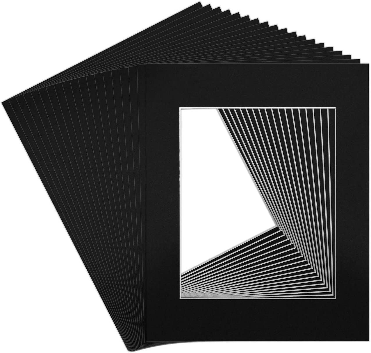Golden State Art Pack of 10 11x14 White Picture Mats Mattes with White Core Bevel Cut for 8x10 Photo Acid Free