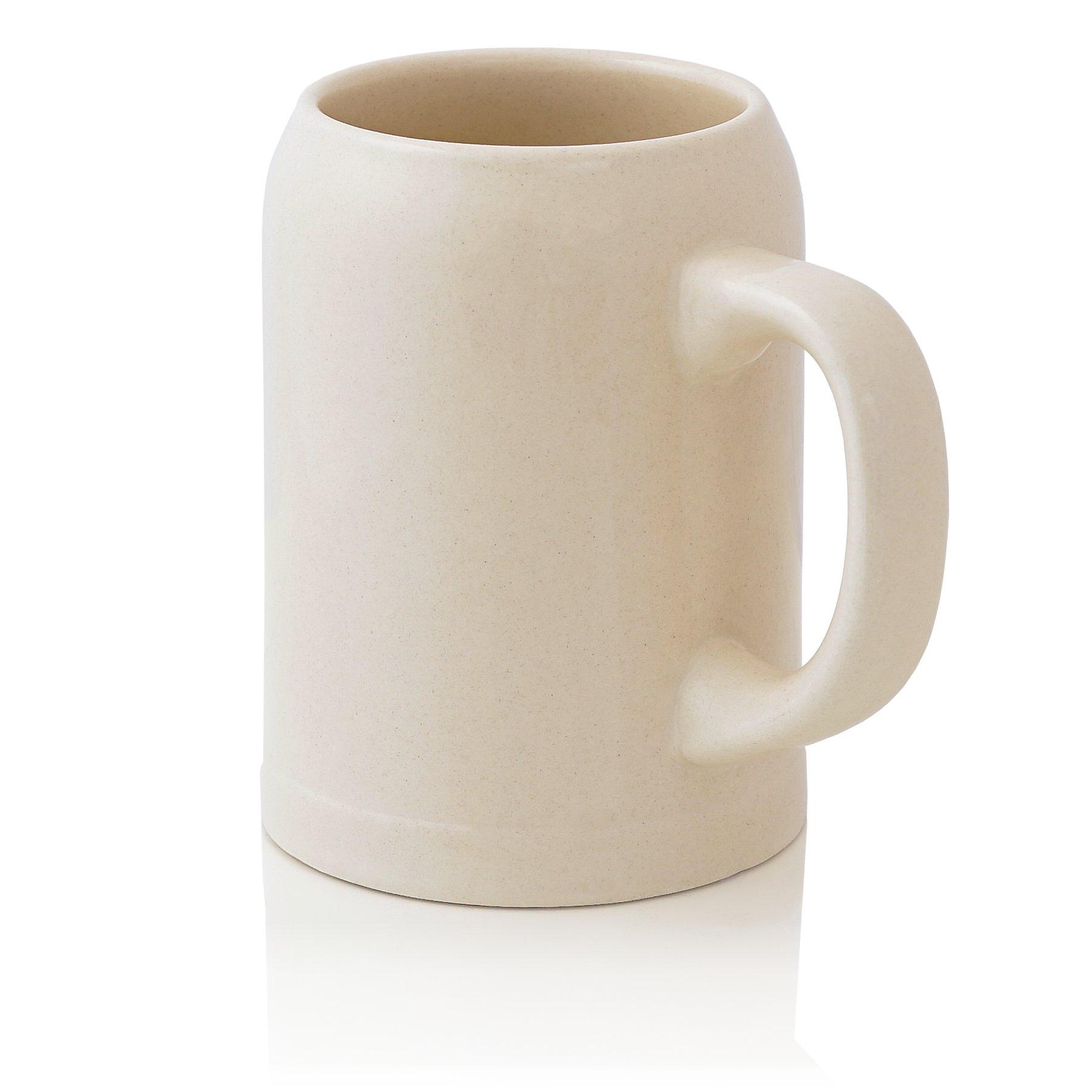 German Beer Stein 0.5 liter | Traditional Bavarian Beer Mug with handle | 0.5 liter (1 pt.) | beige | Made in Germany
