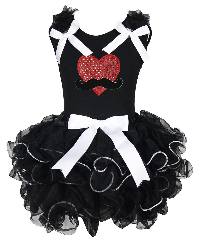 Valentine Dress Mustache Sequin Heart Black Shirt White Bow Petal Skirt Set 1-8y