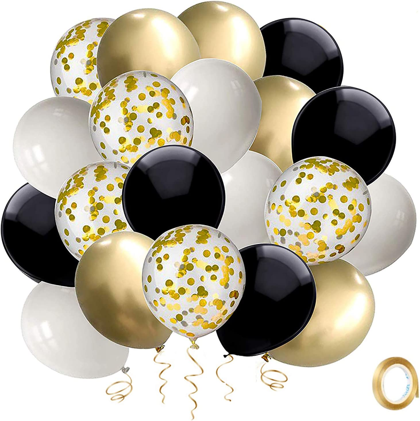 Black and Gold Confetti Balloons, 50 Pack 12inch White Latex Party Balloon Set with Gold Ribbon for Graduation Wedding Birthday Baby Shower Decorations