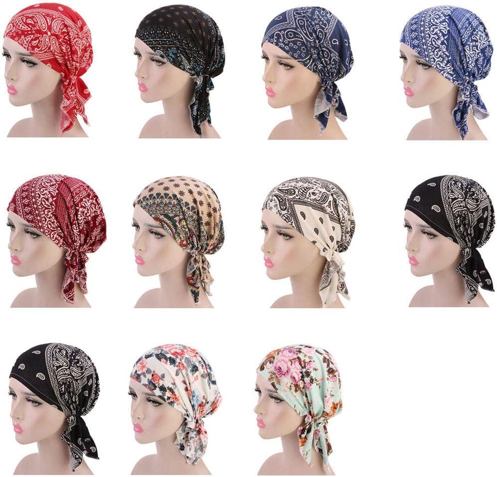ZYCC Unisexe Foulard Bonnet Bandana Coton Imprim/é Turban pour Cancer Chimie Perte de Cheveux