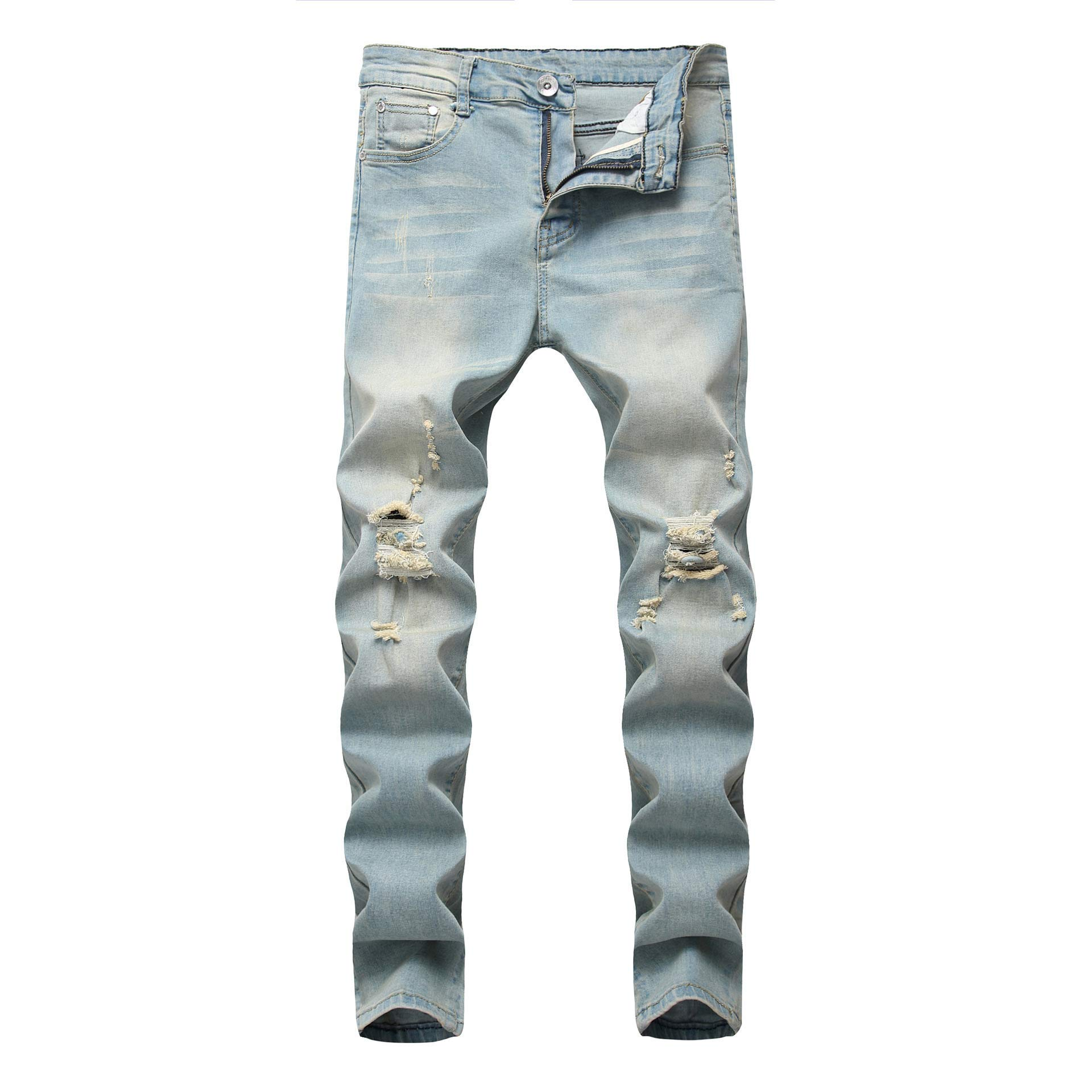 AACFCHAIN Boy's Ripped Skinny Jeans Distressed Elastic Straight Fit Fashion Denim Pants