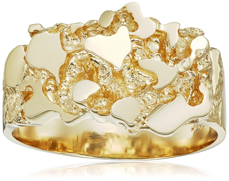 Amazon.com: Men\'s 14k Solid Yellow Gold Nugget Diamond-Cut Ring ...