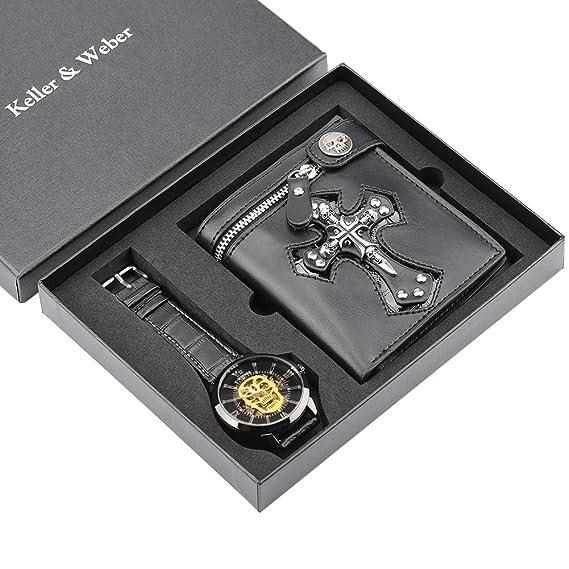 Set Lujo para Hombres, Correa de Cuero de Cuarzo Reloj de Pulsera para niño Novio, Cartera de monederos clásicos para papá Marido: Amazon.es: Relojes