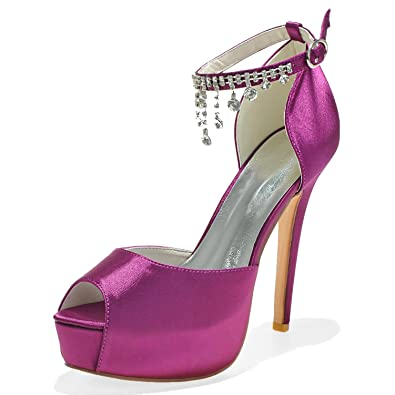 Elobaby Damen-Hochzeit High Heels TY-3128-21 Peep Toe Sandalen Pumps Satin-Seide-Court-Schuhe
