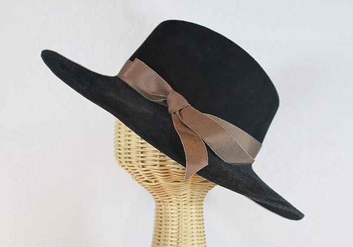 858fbca27bb Amazon.com  Custom Made Katharine Wide Brim Velour Felt Fedora Hat  Handmade
