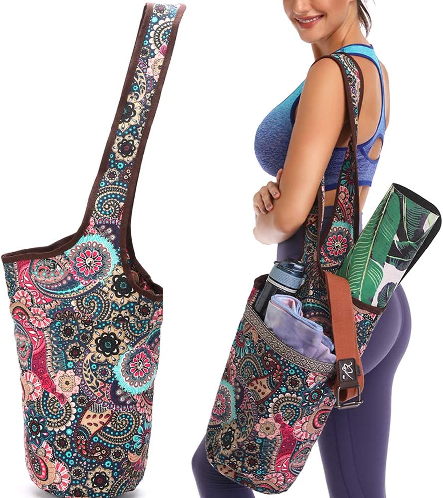 FODOKO Yoga Mat Bag with Large Size Pocket and Zipper Pocket, Fit Most Size Mats Yoga, Yoga Bags and Carriers for Women