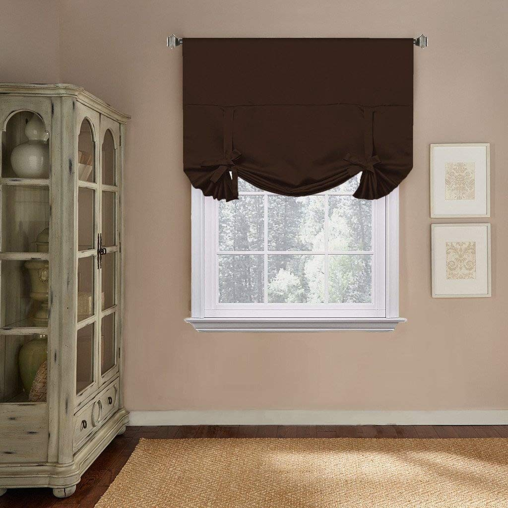 Facets Brown Room Darkening Blackout Insulated Kitchen: Window Treatments For Small Windows: Amazon.com