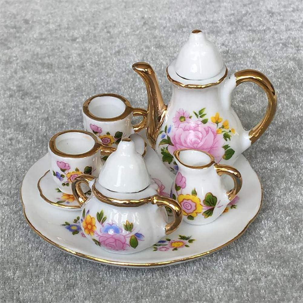 hitonsmusu 8Pcs//Set 1//6 Scale Handmade Porcelain Dining Ware Tea Pot Dish Model Miniature Doll House Accessories Kids Gift 8pcs//Set