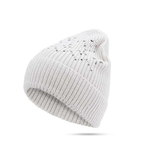 e9d7432b143fe JOOWEN Womens Winter Knitting Warm Beanie Hat Fold Over Beanie Stretchable  Skull Cap  Beige