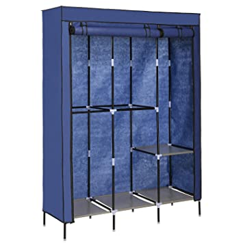 Closet Organizer Wardrobe Portable Clothes Storage Rack Utility  3 Tiers 2 Doors