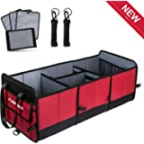 FLAGPOWER Car Trunk Organizer, Foldable Grocery Storage Container with 3 Compartments for SUV Truck Auto Vehicle Car Auto Minivan (New Version)