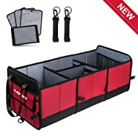 FLAGPOWER Car Trunk Organiser with Straps, Extra Large Foldable Heavy Duty Non-Skid Waterproof Car Storage Organiser with 3 Compartments for Car, SUV, Truck, Auto and More(Red & Black)