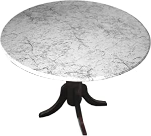 """Table Cloth Round 36"""" to 48"""" Elastic Edge Fitted Vinyl Table Cover Classic Marble Grey"""