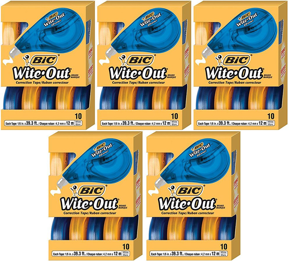 BIC Wite-Out YilOIp Brand EZ Correct Correction Tape, 10 Count (5 Pack) by BIC (Image #1)