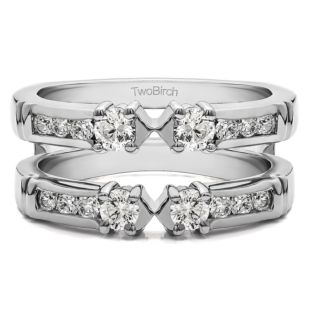 0.48CT Diamonds G,I2 Embellished Three Stone Ring Guard Enhancer in Silver (1/2CT)(Size 3 -15, 1/4 Sizes)