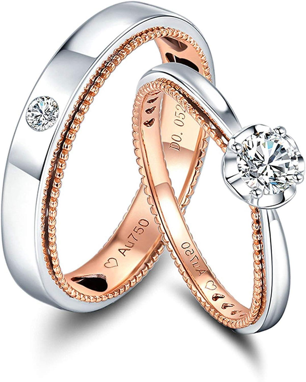AnazoZ Anillos 2PCS Anillos Oro 18K Hombre Mujer Anillos Redondo con Corazón Diamante 0.33ct Oro Rosa y Plata