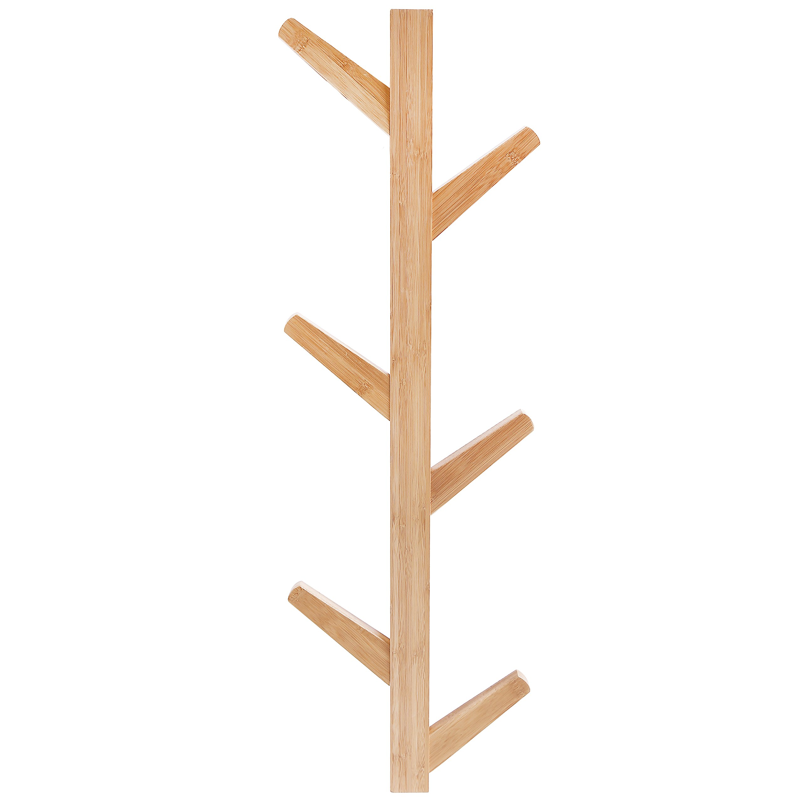 6-Hook Wall Mounted Natural Bamboo Wood Tree Branch Design Coat Rack