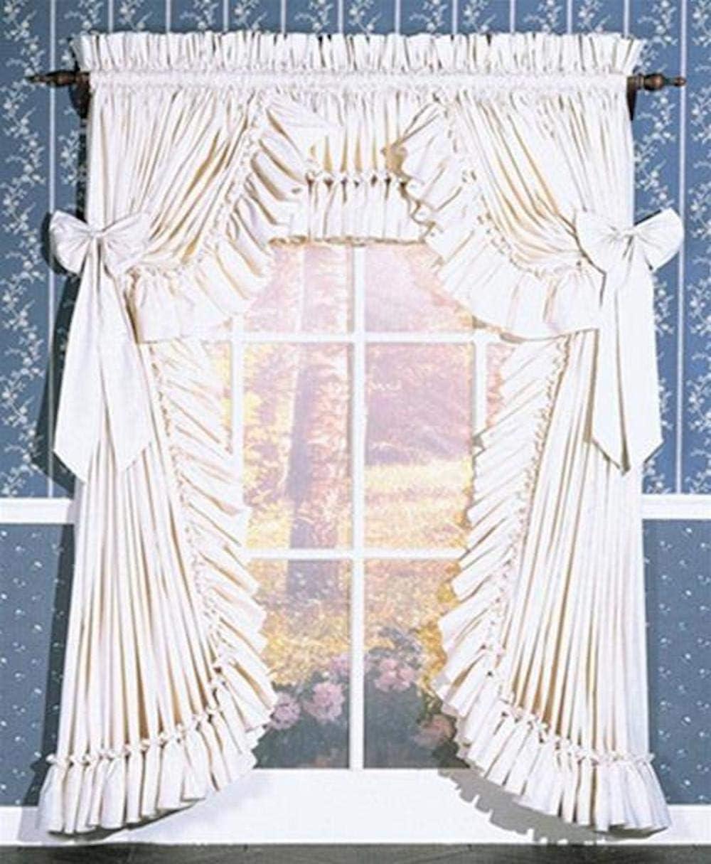 Pauls Home Fashions Carolina Country Priscilla Curtain 90W x 14L Ruffled Valance, Natural