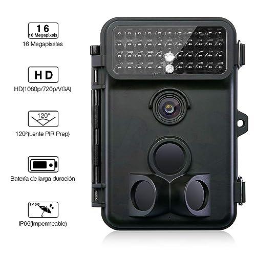 Powerextra Cámara de Caza Vigilancia 16MP Full HD 1080P Angular Amplio de 120 42pcs IR Leds Visión Nocturna con hasta 20M Monitor LCD de 2 4 Cámara de Vigilancia IP66 Resistente Intemperie