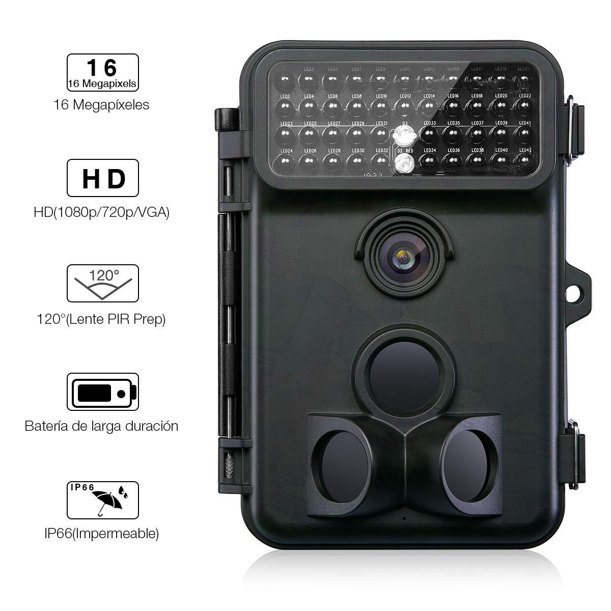 Powerextra Cámara de Caza Vigilancia 16MP Full HD 1080P Angular Amplio de 120° 42pcs IR