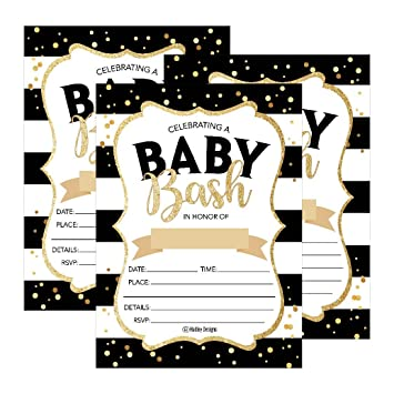 image regarding Printable Gold Card Application Harris County named 25 Black Gold Social gathering Boy or girl Shower Invites, Adorable Published Fill or Compose Within just Blank Invite for boys or females,