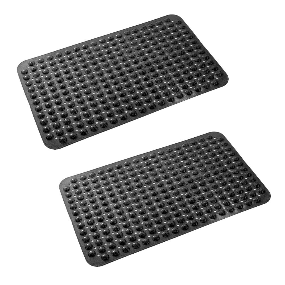 """Dhe Extra-Long Non-Slip Bathtub Mat 31.5/""""x15.8/"""" Anti Bacterial,Phthalate Free,Latex and Machine Washable Materials,Black-2pack"""