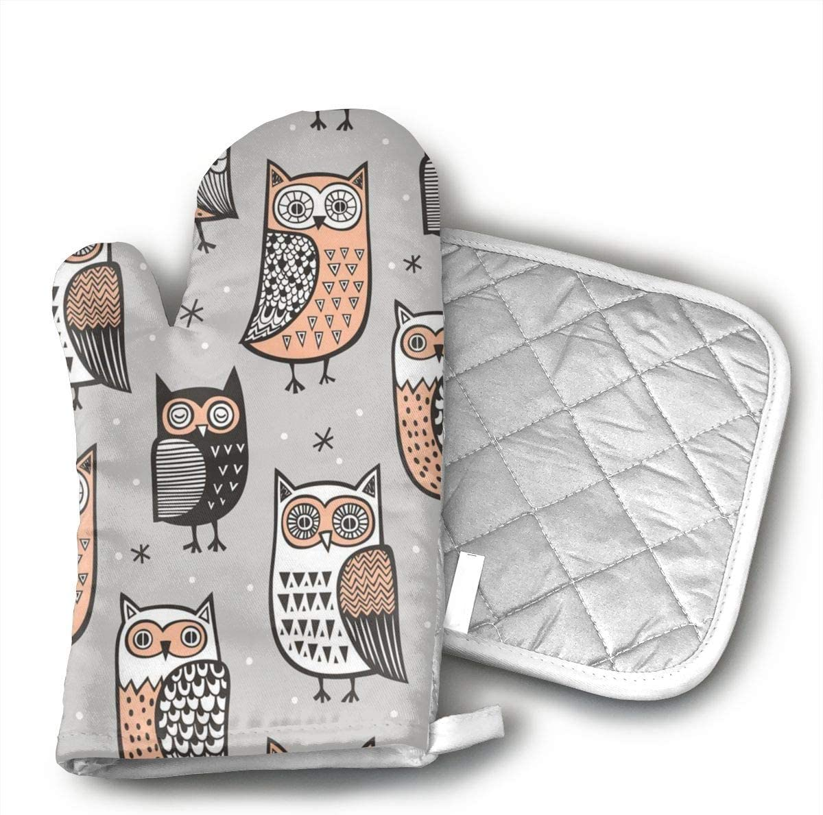 FSDGHVFIJTT ujd Owls Neoprene Oven Mitts and Potholder Set-Heat Resistant Oven Gloves to Protect Hands and Surfaces with Non-Slip Grip, Hanging Loop-Ideal for Handling Hot Cookware Items
