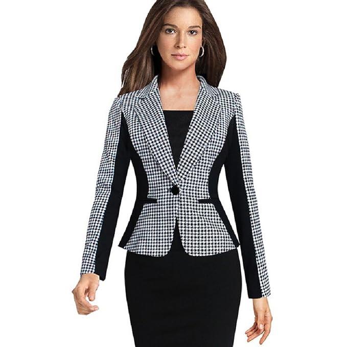 Dantiya Moda Chaqueta de Traje de Negocios para mujer (XL ...