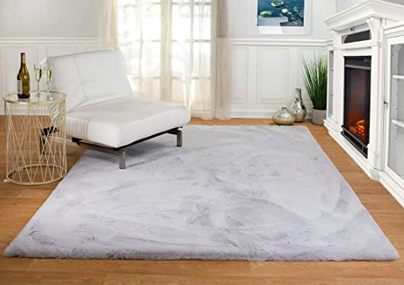 Machine Washable Ultra Soft Faux Fur Area Rugs: Gray Faux Rabbit Shag Rug