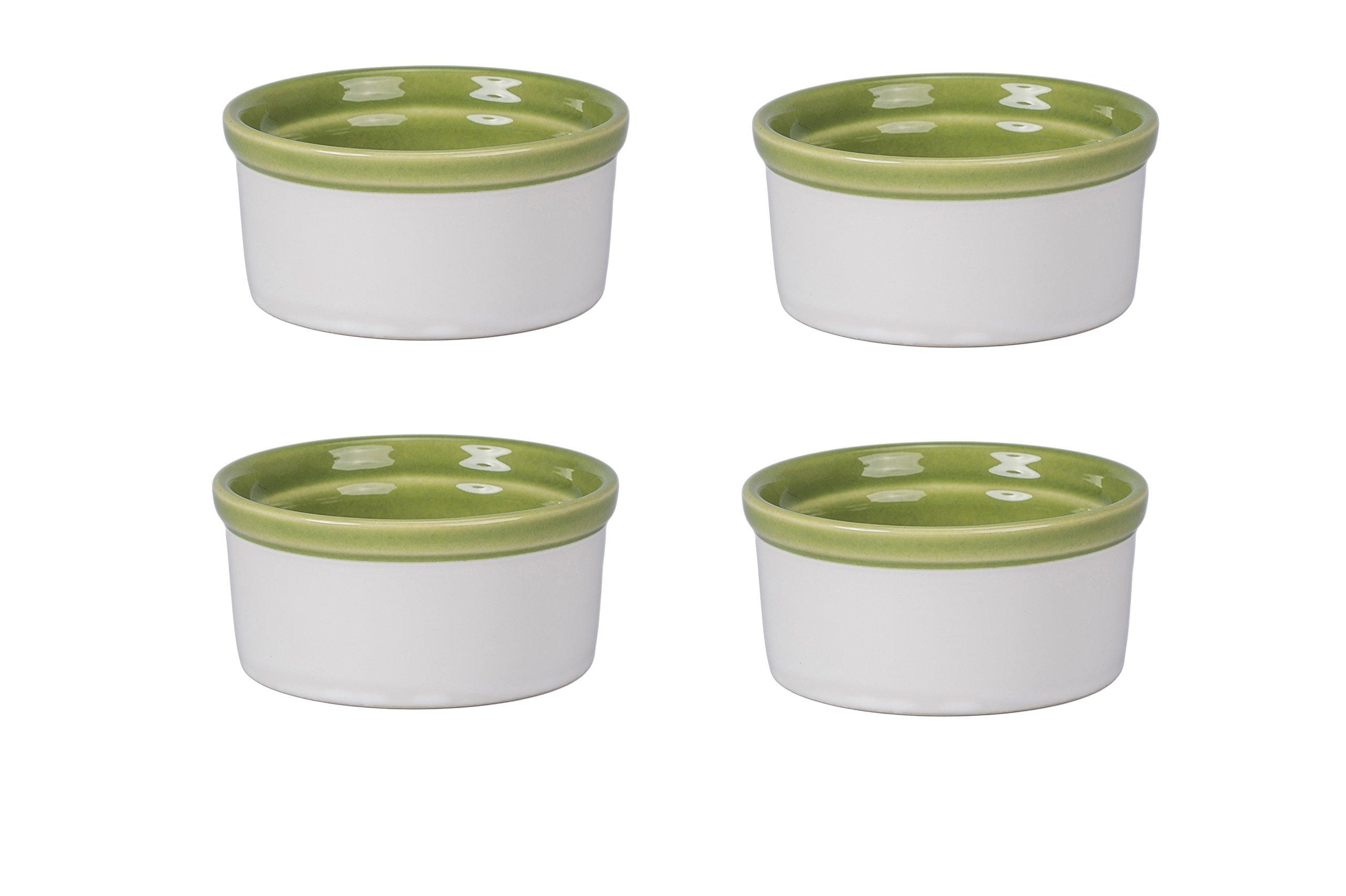 BIA Cordon Bleu 404991+3094S4SIOC Individual Souffle Dish, 4.5, Grass Green/White