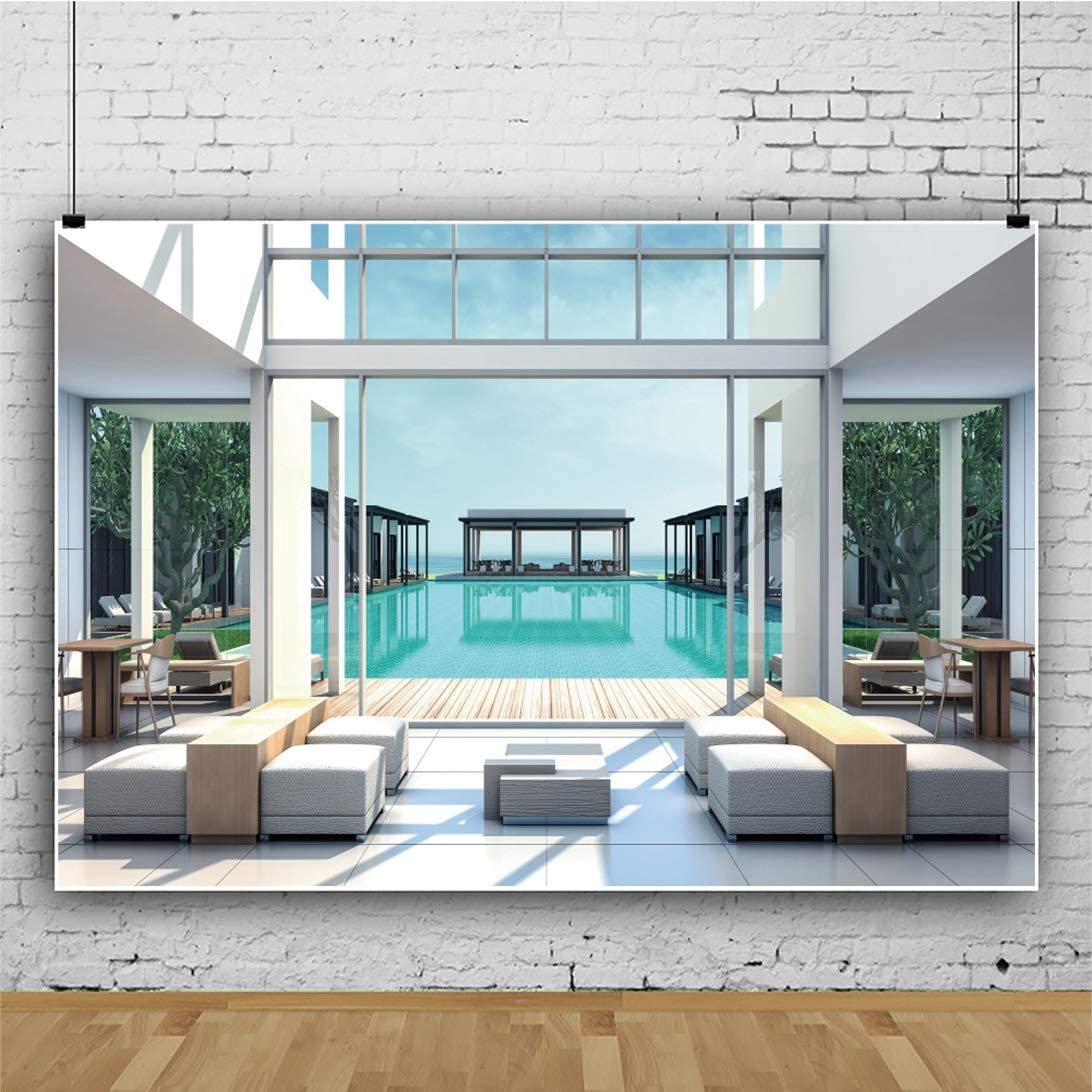 Leyiyi 15x10ft Transparent Window Backdrop Swimming Pool Modern Hotel White Pillars Sofa Desk Blue Sky Vinyl Photography Background Kids Children Adults Photo Studio Props