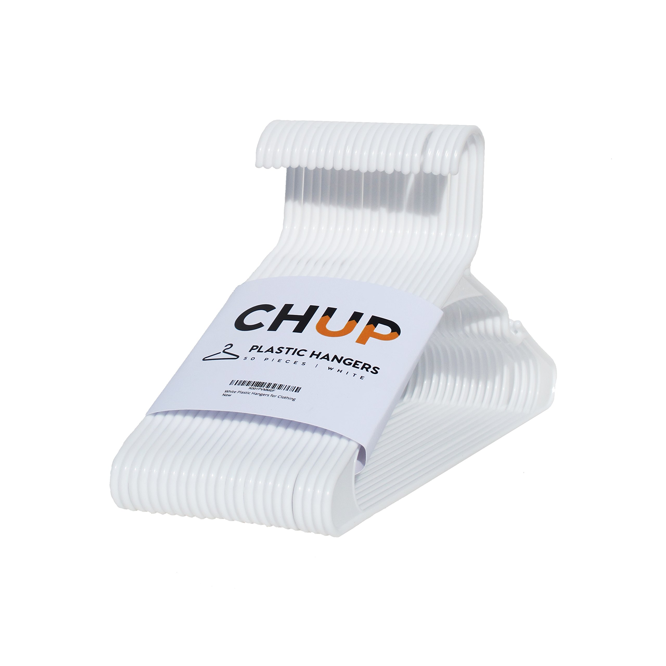 CHUP White Plastic Hangers Standard w/Hooks - Durable, Strong and Flexible Quality for Long Lasting Value - 50 Pack by CHUP