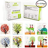 Adhesive Hooks Romantic Artistic Fashionable Traceless Strong Eco-friendly Washable Removable Reusable Waterproof Heavy-duty Flexible Durable, Max Load 22lb/10kg, 4+4 Packs (L'amour/L'Arbre)