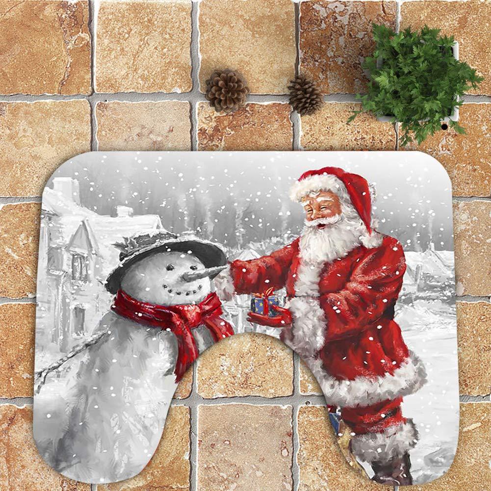 PoeHXtyy 3 Pezzi Babbo Natale e Pupazzo di Neve Coprivaso e Decorazioni per Il Bagno Set da Bagno