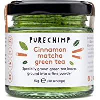 Cinnamon Matcha Green Tea Powder 50g by PureChimp - Ceremonial Grade from Japan - Pesticide-Free - Recyclable Glass Jar…