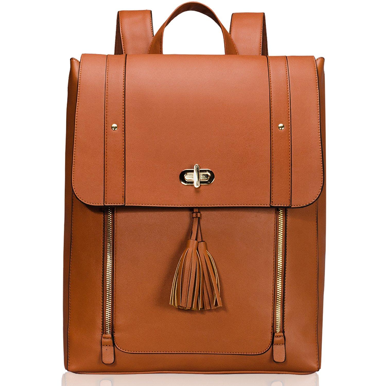 Estarer Women PU Leather Backpack 15.6inch Laptop Vintage College School Rucksack Bag(brown) by ESTARER